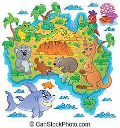 landkarte, australische, thema, bild, 3