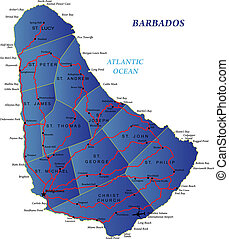 landkarte, barbados