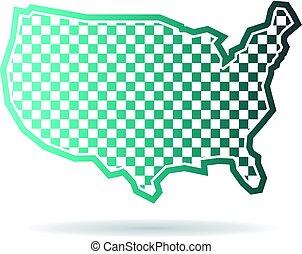 landkarte, checkered, abbildung, staaten, vereint, logo