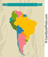 landkarte, countries., alles, amerika, süden, editable