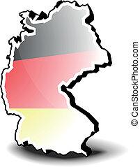 landkarte, deutschland, 3d
