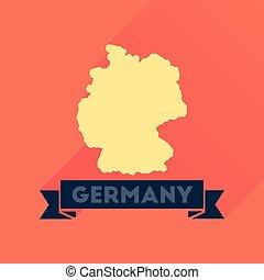 landkarte, deutschland, ikone, langer, schatten, wohnung
