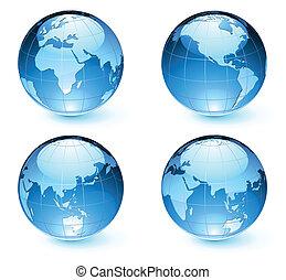 landkarte, erde, globen, glänzend