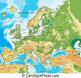 landkarte, europa, -, physisch