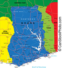 landkarte, ghana