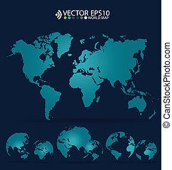 landkarte, illustration., modern, vektor, welt, design