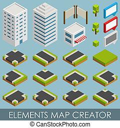 landkarte, isometrisch, elemente, schöpfer