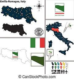 landkarte, italien, emilia-romagna