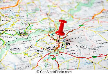 landkarte, karlovy, republik, ändern, tschechisch