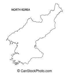 landkarte, korea, nord, grobdarstellung
