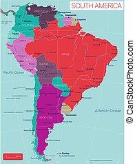 landkarte, land, amerika, editable, süden, ausführlich