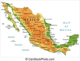 landkarte, mexiko, physisch