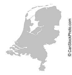 landkarte, niederlande, grau