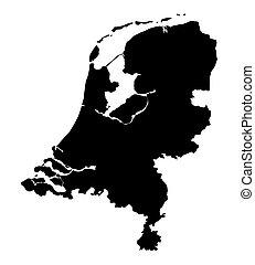 landkarte, niederlande, schwarz