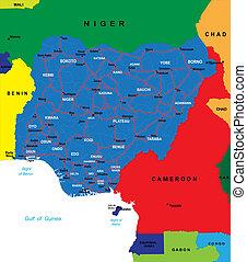 landkarte, nigeria