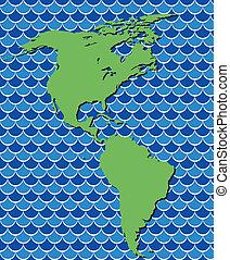 landkarte, nord, abstrakt, vektor, amerika, süden