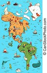 landkarte, nord, colorfull, illustriert, amerika, süden