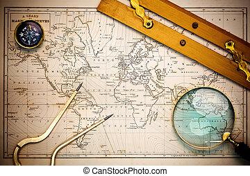 landkarte, objects., altes , navigations