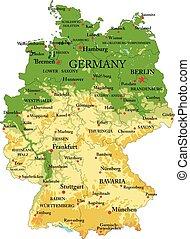 landkarte, physisch, deutschland