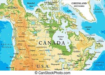 landkarte, physisch, kanada