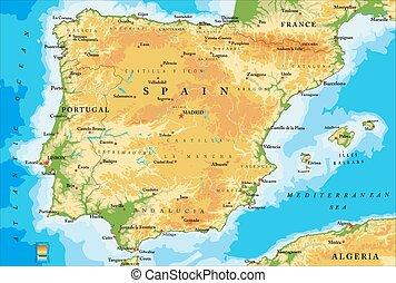landkarte, physisch, spanien