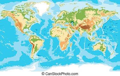 landkarte, physisch, welt
