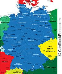 landkarte, politisch, deutschland