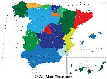 landkarte, politisch, spanien