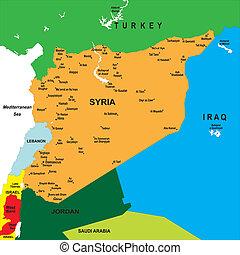 landkarte, politisch, syrien