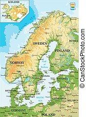 landkarte, scandinavia-physical
