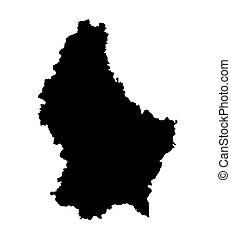 landkarte, schwarz, luxemburg