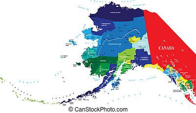 landkarte, staat, alaska