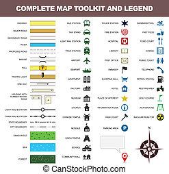 landkarte, symbol, toolkit, zeichen, legende, ikone