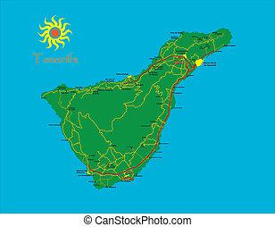 landkarte, teneriffa