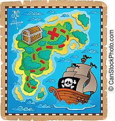 landkarte, thema, 2, bild, schatz