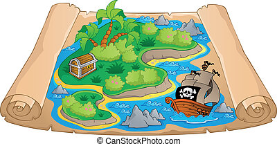 landkarte, thema, schatz, bild, 4