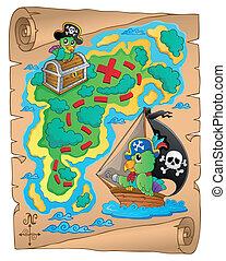 landkarte, thema, schatz, bild, 8