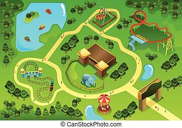 landkarte, thema, vergnügungspark
