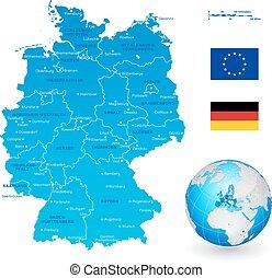 landkarte, vektor, deutschland