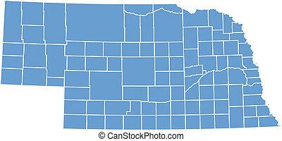 landkarte, vektor, nebraska