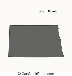 landkarte, vektor, nord, dakota., grobdarstellung, illustration.