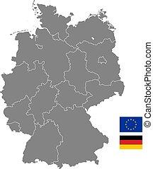 landkarte, vektor, politisch, grau, deutschland
