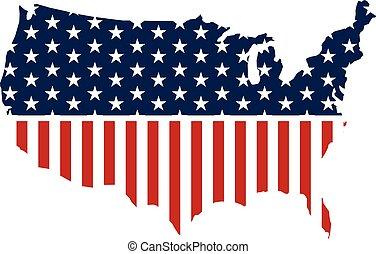 landkarte, vereint, graphic., abbildung, staaten, vektor, design, patriotisch