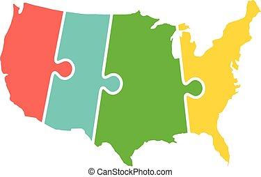 landkarte, vereint, puzzel, zonen, staaten, zeit