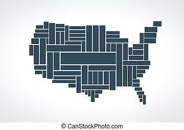 landkarte, vereint, rectangles., abbildung, staaten, vektor, gemacht