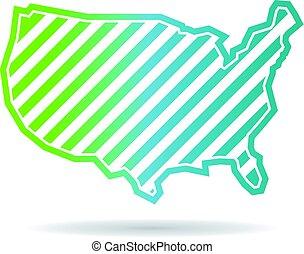 landkarte, vereint, schief, streifen, staaten, design, logo