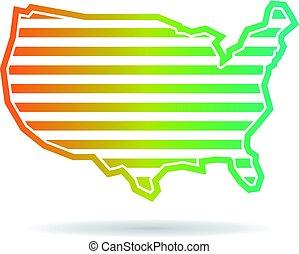 landkarte, vereint, streifen, staaten, design, logo, horizontal
