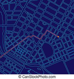 landkarte, verfolgen, digital, gps