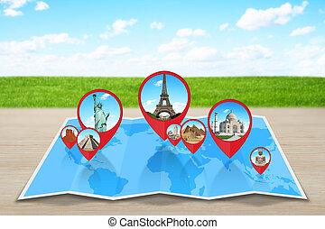 landkarte, welt, denkmäler