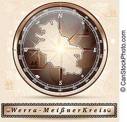 landkarte, werra-meissner-kreis